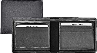Genuine Leather Bi-Fold Wallet For Men, Black | Large Capacity purse with ID Window | Slim Credit Card Holder Case- Classi...