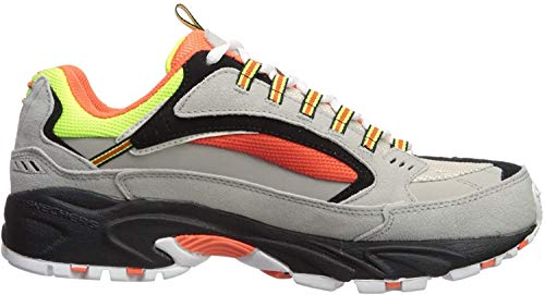 Skechers Men's Stamina Cutback Trainers, Grey (Gray Leather/Orange & Lime Mesh/Trim Gyor), 9 (43 EU)