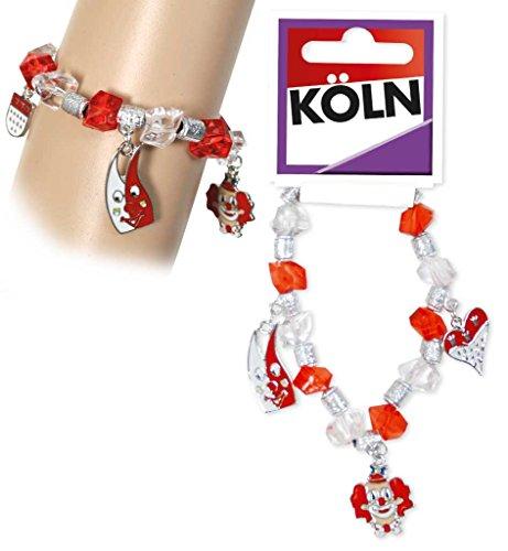 KarnevalsTeufel Kostümzubehör Bettelarmband Köln rot-weiß, Schmuck, mit Anhängern: Kölner Dom, Wappen, Clown, Krone, Herz