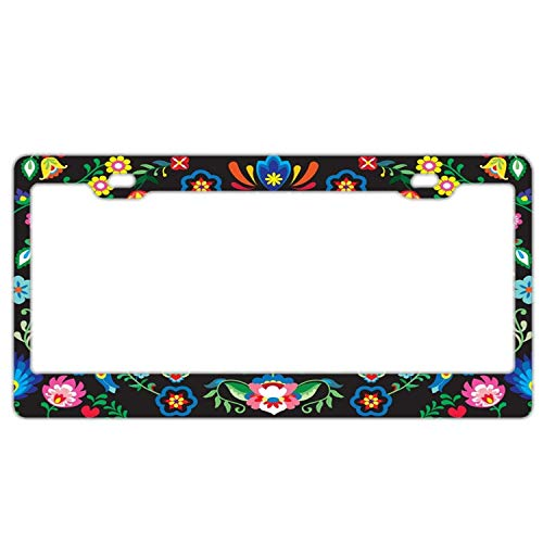 "Promini Abstract Sugar Skull Floral License Plate Frame Car License Plate Covers Auto Tag Holder 6"" x 12"""
