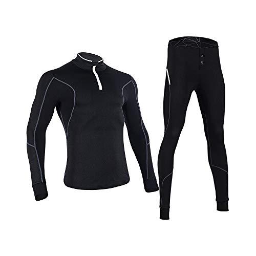 d.Stil Herren Funktionswäsche Langarm Fleece Thermoaktiv Atmungsaktiv Kompressionsshirt + Kompressionshose Unterwäsche Set S - XL (Schwarz, L)