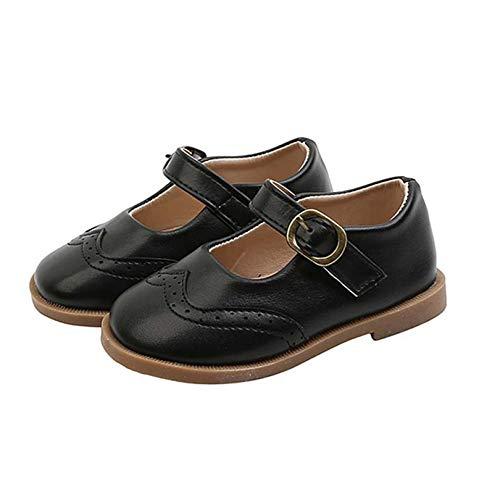 Zapatos de Cuero de Princesa para niñas Ligeros Bajos con Punta Redonda Zapatos Planos Mary Jane Zapatos de Vestir de Suela Suave para Rendimiento de Baile para niños