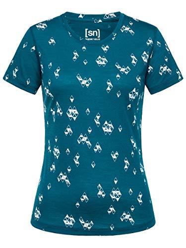 super.natural Bedrucktes Damen Kurzarm T-Shirt, Mit Merinowolle, W BASE TEE 140 PRINTED, Größe: M, Farbe: Blau/Weiß