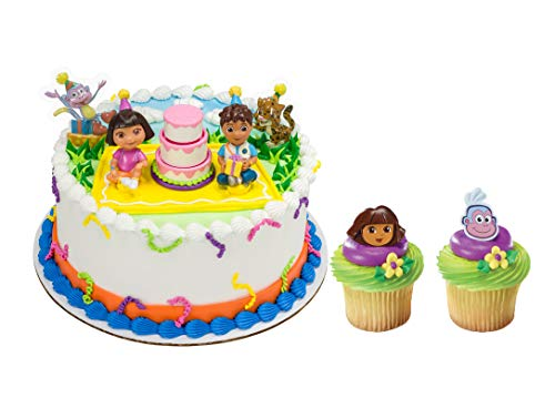Dora the Explorer Officially Licensed Birthday Celebration Cake Topper with 24 Dora and Boots Cupcake Topper Rings and 24 Assorted Spiral Candles
