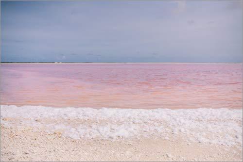 Posterlounge Cuadro de metacrilato 30 x 20 cm: Pink Salt Lake and White Foam de Celeste MG/Mauritius Images