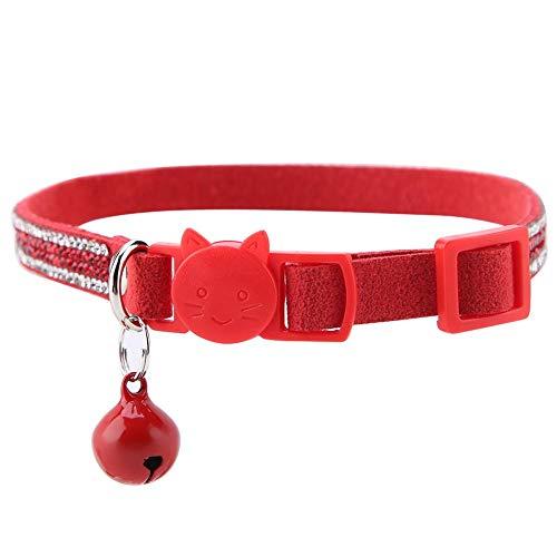 ViaGasaFamido Collares para Gatos, para Mascotas, Cuero Colorido, Reflectante, Duradero, Brillante, cómodo, Collar, Corbata, Hebilla de Seguridad, liberación rápida, separación con Campanas(Rojo XS)