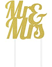 Creative Converting Mr. & Mrs. Glitter Cake Topper, 7-Inch Width x 9.5-Inch Height, Gold