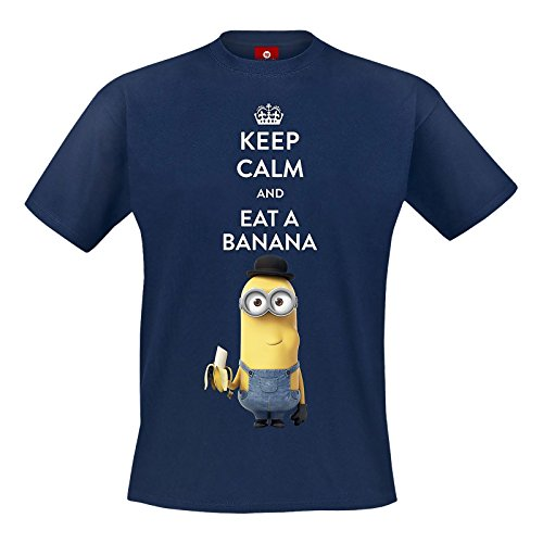 Minions T-Shirt Keep Calm and Eat a Banana Einfach unverbesserlich Kevin Motiv Sommer Mode blau - XL