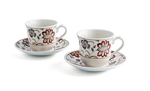 Bidasoa Jacobean Churchill - Estuche de 2 tazas con platillo, 20 cl,...
