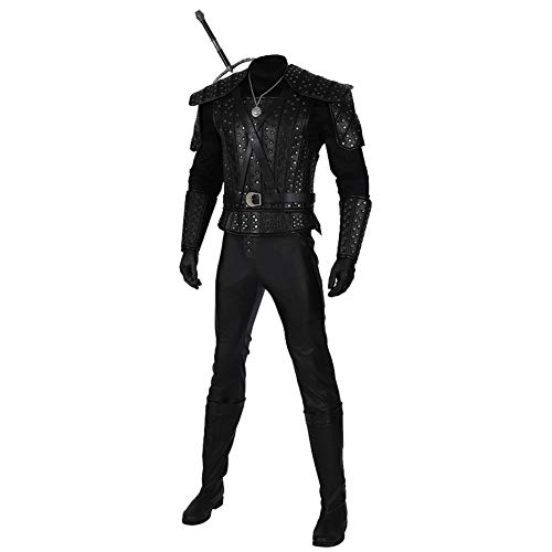starfun White Wolf Geralt Cosplay Costume Halloween Leather Uniform Full Set Outfit (Male:X-Large, Black)