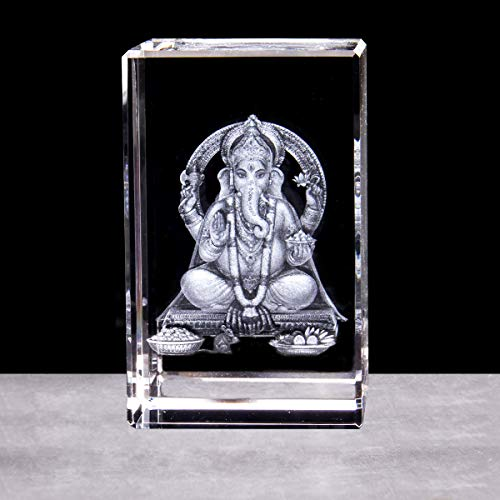 3D Hindu Elephant God Buddha Statue Sculpture Paperweight(Laser Etched) in Crystal Glass Cube(No Included LED Base)(3.1x2x2 inch)