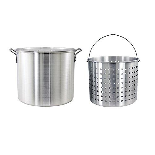 CHARD , Aluminum Stock Pot and Strainer Basket Set, Silver, 60 quart