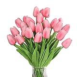 huaao 24pcs Flores Tulipanes Artificiales de látex, Plantas Artificiales Falsos Tacto Realista decoración para hogar, casa, Oficina, Sala, Banquete Boda Nupcial, Fiestas, arreglos Florales (Rosa)