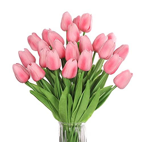 huaao 24pcs Flores Tulipanes Artificiales en látex, Plantas Artificiales Falsos Tacto Realista decoración para hogar, casa, Oficina, Sala, arreglos Florales Banquete Boda Nupcial, Fiestas (Rosa)
