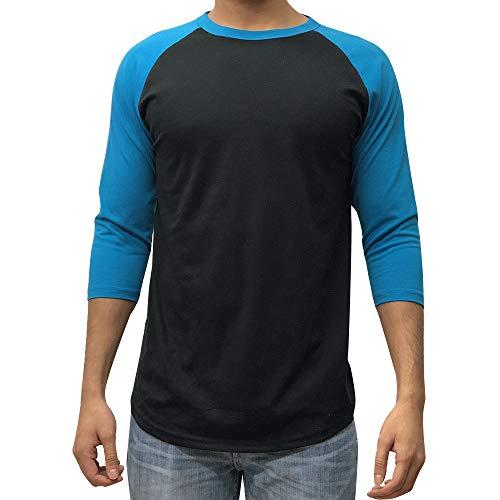 Kangora Men's Plain Raglan Baseball Tee T-Shirt Unisex 3/4 Sleeve Casual Athletic Performance Jersey Shirt (Black Aqua, X-Large)