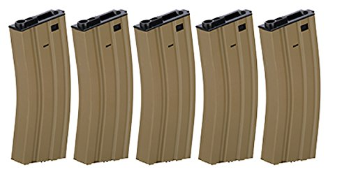 Box of 5 - Gen2 LT-01B Metal M4/M16 300 Round Hi-Cap AEG Airsoft Magazine (Tan)