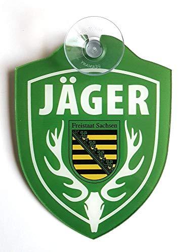 Schilder Einsatzschild für die Windschutzscheibe incl. Saugnapf JÄGER Sachsen (WappenJägerHirsch)
