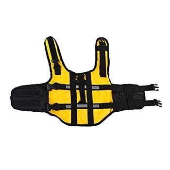 POPETPOP Gilet de sauvetage pour chien Jaune – Gilet de natation réfléchissant et réglable pour la natation et le canoë-kayak