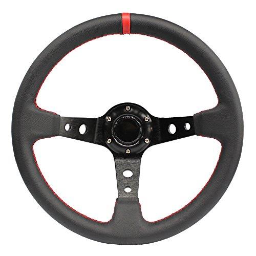 MODAUTO Volante Deportivo Universal, Desplazado, de Piel Sintética, Diámetro 350mm, Modelo G016, Color Negro y Costura Roja