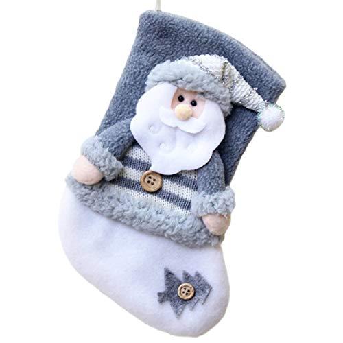MAJFK - Medias colgantes de Navidad para árbol de Navidad, calcetines para colgar caramelos, bolsa de regalo para el hogar, fiestas, decoración de Papá Noel gris