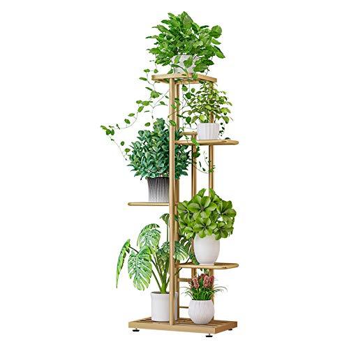ZZBIQS Blumenständer Metall mit 5 Ebenen, 98 cm Blumentreppe Modern Pflanzentreppe für innen und außen Garten Balkon, weiße Blumenregal Mehrstöckig (Gold)