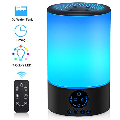 Cool Mist Humidifier, 3L Top Fill Ultrasonic Humidifier for Bedroom with 7 Colors Night Light and Remote Control, Adjustable Mist Levels, Optional Timer, 6 Dimmer, Super Quiet Operation (Black)