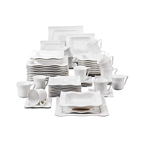NXYJD Conjunto de vajillas de la Cena de Porcelana de 60 Piezas con 12 * Tazas, platillos, Cena Sopa Placas de Postre Establecer Servicio para 12 Personas