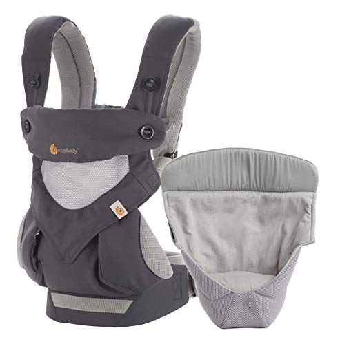 Ergobaby Babytrage 360 Cool Air Carbon Grey inkl. Neugeboreneneinsatz, 4in1 Baby...
