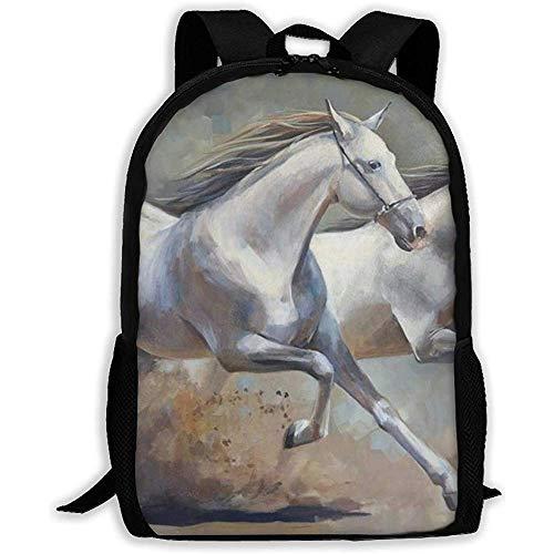 Lily-Shop Running Horse Movie Print Erwachsenenrucksack Laptop Full Print Rucksack Erwachsenenrucksack 43cm
