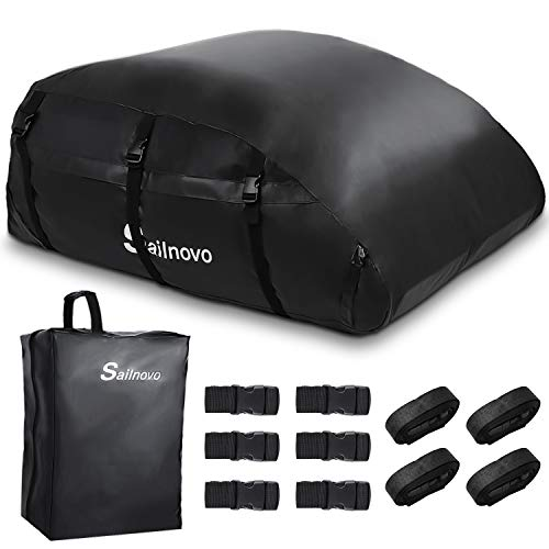 Sailnovo Car Roof Bag, 560 Liters Large Rooftop Cargo Carrier Bags Waterproof Folding Soft Luggage Storage Bag for Any Cars with/without Roof Rack/Rails/Bars, 20 Cubic Feet, Black