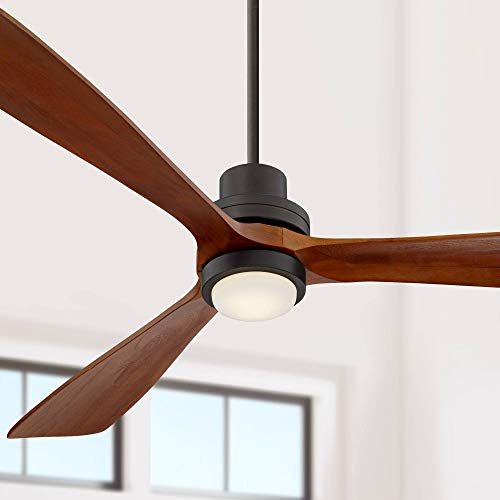 """66"""" Casa Delta-Wing Modern Contemporary 3 Blade Ceiling Fan with Light LED Remote Oil Rubbed Bronze Wood Opal Glass for House Bedroom Living Room Home Kitchen Dining Office - Casa Vieja"""