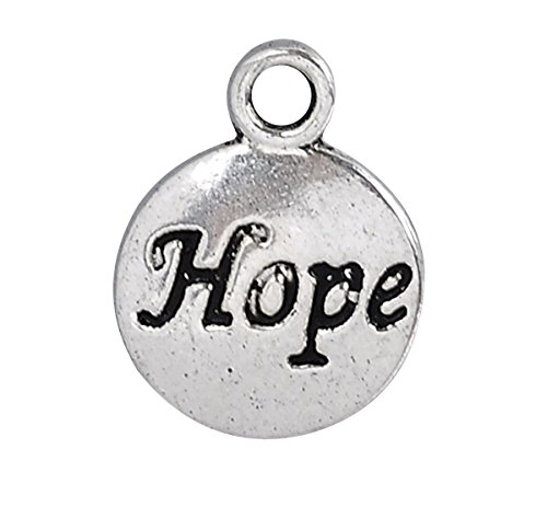 HOUSWEETY 50PCs Silver Tone Round Hope Message Charm Pendants 15x12mm(5/8' x4/8')