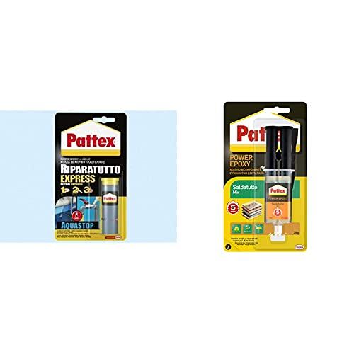 Pattex, 1563676, Ripara Express Aquastop & Power Epoxy Saldatutto Mix 5 Minuti, Forte Colla Epossidica, Bicomponente A Elevata Tenuta Finale