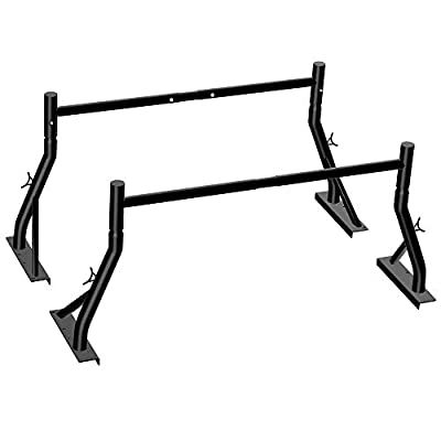Truck Ladder Rack 800lbs Capacity Heavy Duty Extendable Universal Pickup Rack Two-bar Set Matte Black One Pair