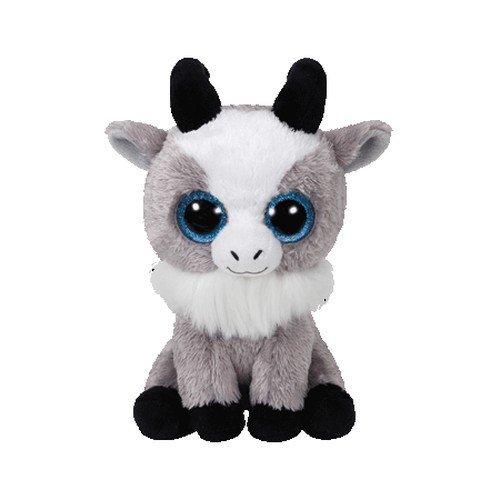 TY 36843 Goat Beanie Boo's Gabby Ziege mit Glitzeraugen, 15 cm, grau/Weiss