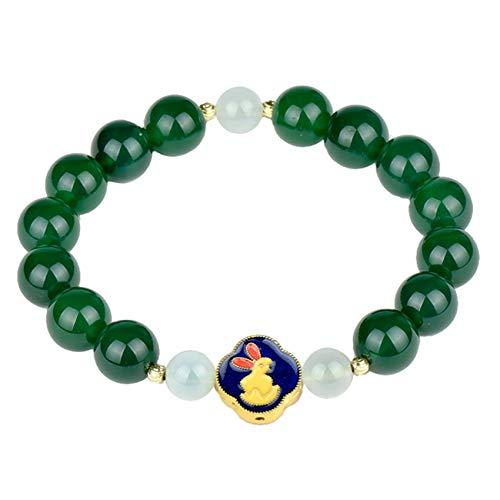 DFGHJH Natural Green Agate Feng Shui Wealth Conejo Pulsera Burn Blue Azul Universal Ajustable Reiki Curación Chakra Meditación para Buena Fortuna Valorosa Riqueza Lucky