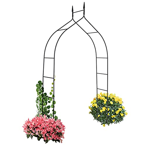 GOPLUS Metall Rosenbogen, Torbogen mit Spitzen, Gartenbogen, aus Eisen, Pulverbeschichtet, Wetterfest, Antik, für Kletterpflanzen, für Garten Hochzeit Party, Schwarz