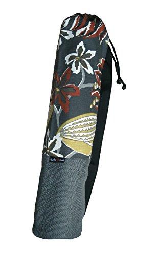 Yoga Malai-Borsa per tappeto Yoga, 31 x 71 cm-Grande tasca interna, cotone, iuta tracolla, colore: grigio a fiori