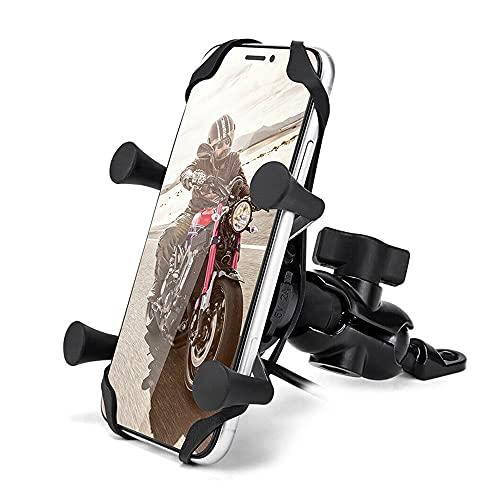 WHCL Motocicletas Montaje del teléfono, Soporte de teléfono de la Motocicleta con Cargador USB, Soporte de vástago de Horquilla de Moto, Soporte de navegación de Motocicleta de Montaje GPS