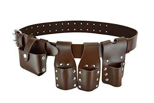 Scaffolding Brown Leather Tool Belt   4 Pockets   Tape Spanner Level Holder   Brown   Full tool Set Pocket