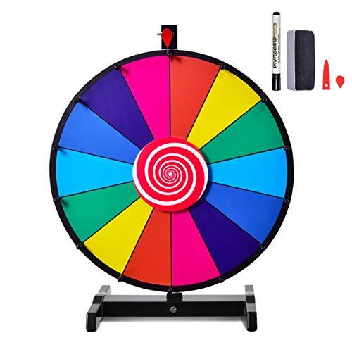 """COSTWAY 24"""" Glücksrad Spielzeug Farbe Rad Spiele für Lotteriespiele Wortspiele, inkl. Radiergummi und Markierstift, geeignet für Kinder und Erwachsenen (φ60cm)"""