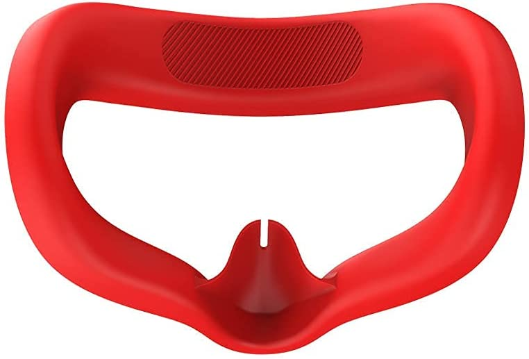 Ferbao VR Glasses Eye Pad for Oculus Quest 2 Silicone Cover Face Protect Skin Sweatproof Lightproof (Red)