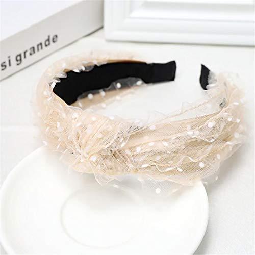 Kissherely Femmes Dentelle Dot Noeud Bow Bandeaux Style Vintage coloré Doux Filles Hairband Accessoires Cheveux (Beige)