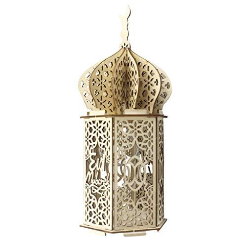 Yuemei Mubarak Ramadan LED Holz DIY Lampe, Holz Ramadan Eid Mubarak Mond LED Kerzen Licht Muslim Islam Eid Festival Dekoratives Licht Windlicht Laterne Tischlaterne Aus Holz Dekorationen (B)