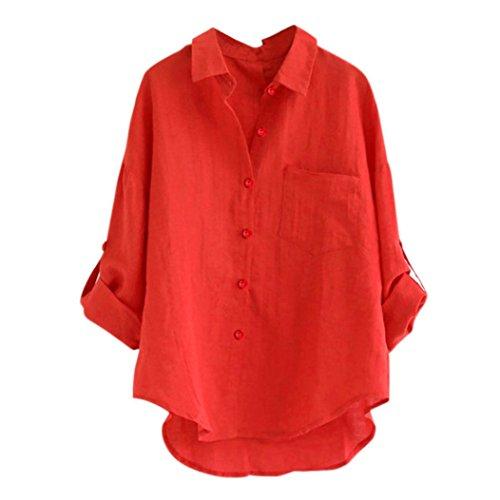 Kobay Damen Leinen Blusen Elegant Lange Ärmel Oberteile Loose V-Neck Tunika T-Shirt(2XL,Rot)