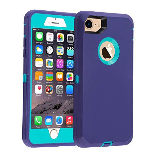 "Co-Goldguard Case for iPhone 7 Heavy Duty iPhone 8 Case Armor 3 in 1 Built-in Screen Protector Rugged Cover Dust-Proof Shockproof Drop-Proof Scratch-Resistant Shell for iPhone 7/8 4.7""(Blue)"