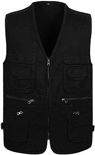 XFentech Men's Gilet - Autumn Winter Sleeveless Coat Work Outdoor Vest Many Pockets