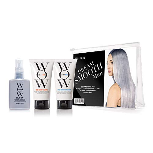 COLOR WOW Dream Smooth Minis, Travel Kit Includes Shampoo, Conditioner and Dream Coat