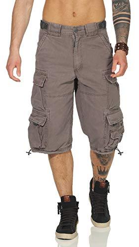 Jet Lag Cargo Shorts 007 B mit Seitentaschen in schwarz beige Cement Navy Olive Jeans (L, Dark Grey)