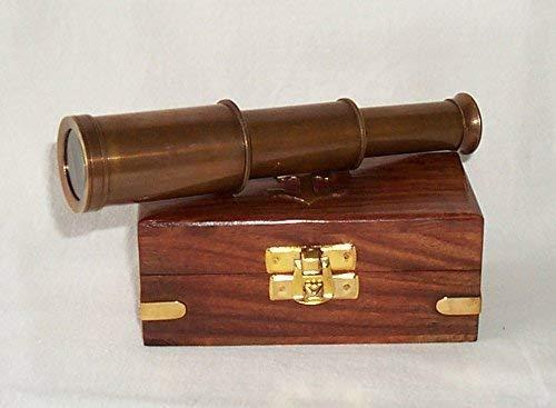 linoows telescopische verrekijker, mono oculair, verrekijker, oud messing in fraaie houten doos